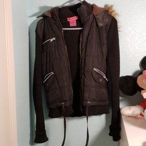 Jackets & Blazers - Black knitted jacket with furry hood